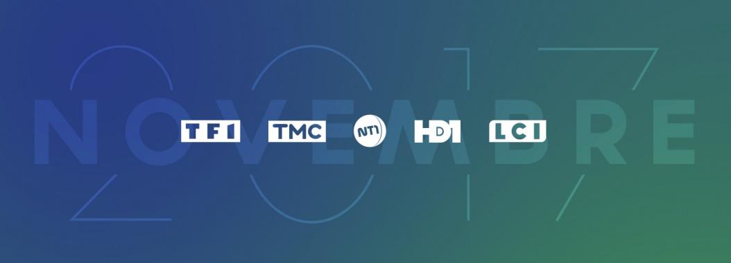 Visuel audiences groupe TF1 TMC NT1 HD1 LCI novembre 2017